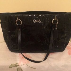 Coach patent leather black small tote